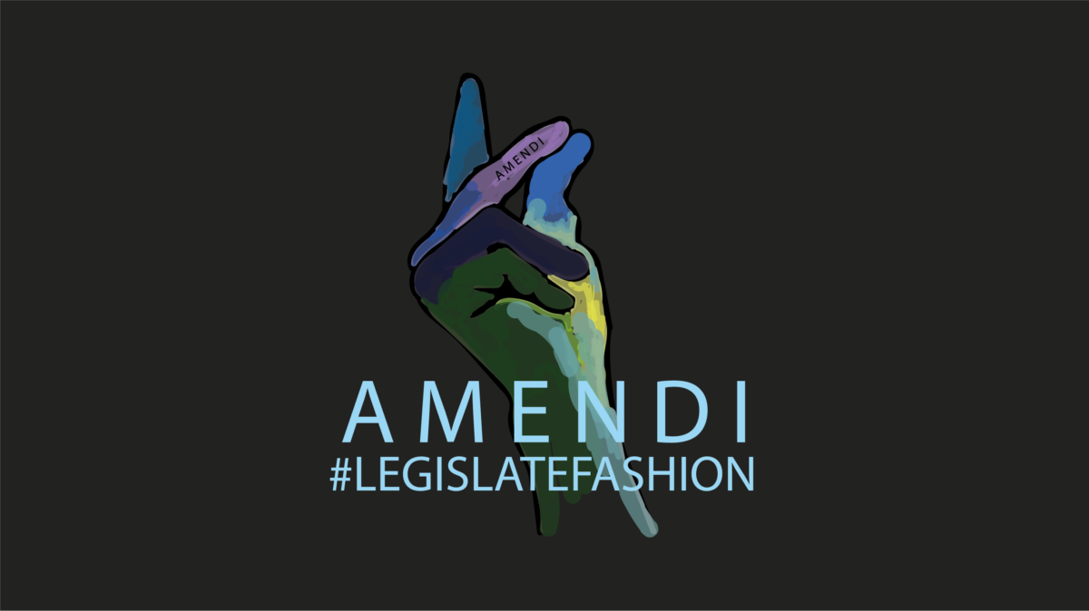 AMENDI Legislate Fashion logo showing a colorful hand snapping the fingers on a black background.
